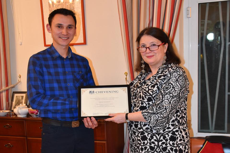 British Ambassador presents certificate to Maksat Danatarov