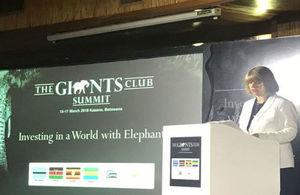 Harriett Baldwin addresses delegates at the Giants' Club Summit in Botswana