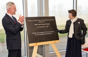 The Princess Royal unveiled a stone plaque to mark the official opening of Nucleus
