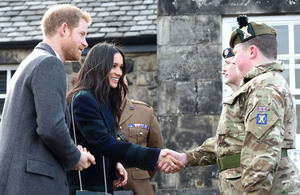 HRH Prince Harry and Ms Meghan Markle meeting Armed Forces personnel at Edinburgh Castle in February 2018
