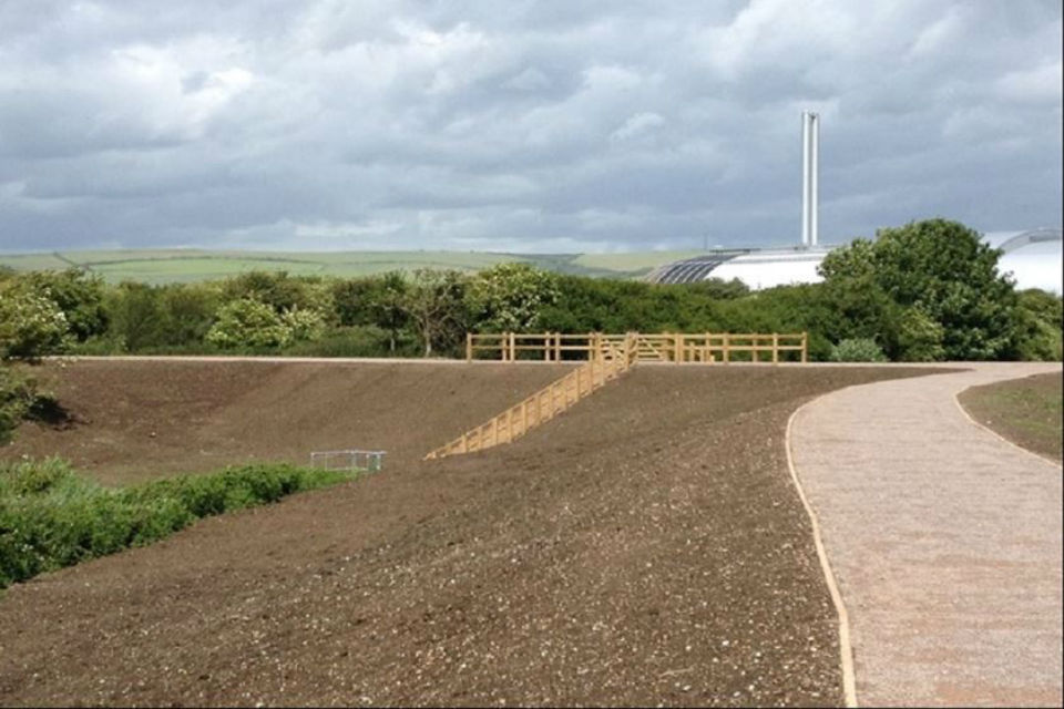 Grassed banks forming flood defences in parkland