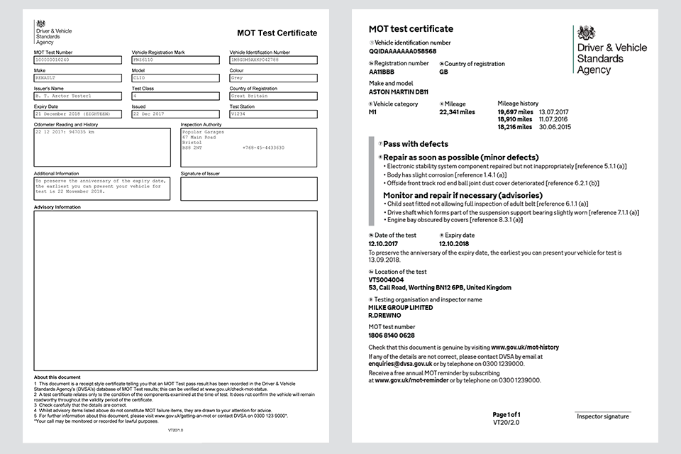 Image showing samples of the current and new MOT certificate design