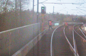 Image from front of train travelling from South Shields towards Pelaw (courtesy of NEMOL).