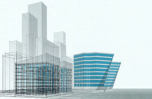 Graphic rendering of a building