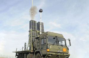 The pictures shows a full scale Land Ceptor Missile System.