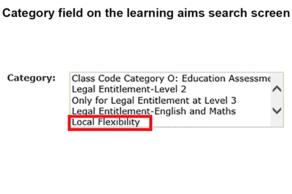 Category field on the learning aims search screen