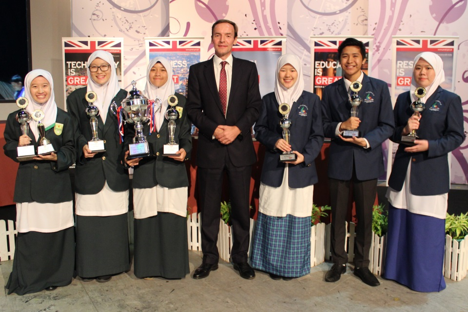 British High Commissioner Richard Lindsay with the champions and runner ups of The Great Debate Competition 2018