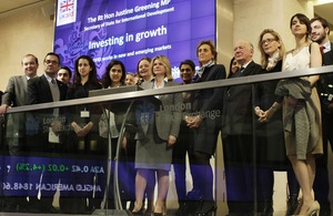 Justine Greening stand with a group of development specialists. Picture: LSE