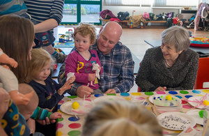 PM Theresa May visits the local parent and toddler group at St Andrews Church of England First School.