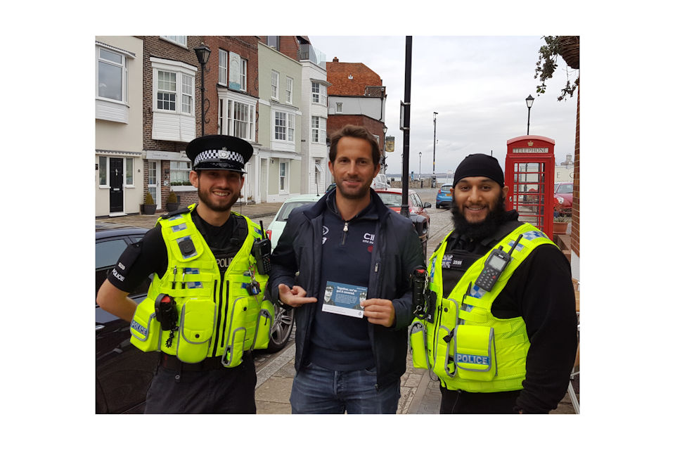 Ben Ainslie with Ministry of Defence Police officers.