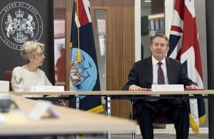 Picture of Liam Fox and Patricia Hewitt at launch of Board of Trade Awards.