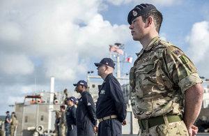 Corporal Darren Phillips onboard USNS Brunswick as part of Pacific Partnership 2018.