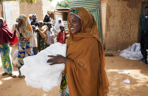 A woman carrying a bednet. Picture: Malaria Consortium/Benoist Carpentier