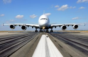 An A-380 Airbus before take-off on the runway