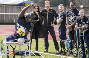 HRH Prince Harry and Ms Meghan Markle watching UK Team hopefuls competing.