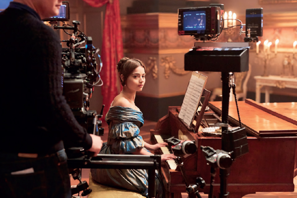 Jenna Coleman as a young Queen Victoria being filmed on the set of 'Victoria'.