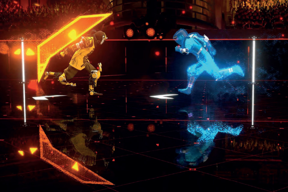 Still from the Laser League video game.