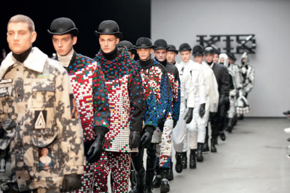Male models on a catwalk.