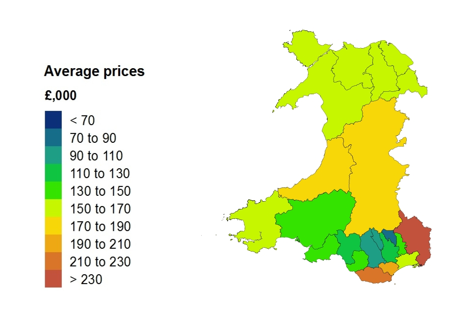 Average price by local authority for Wales