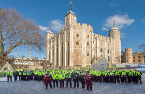 Project Servator teams gather for the launch at the Tower of London.