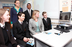 Justine Greening joins pupils at Twyford School to talk with teachers in Mozambique via Skype. Picture: Russell Watkins/DFID