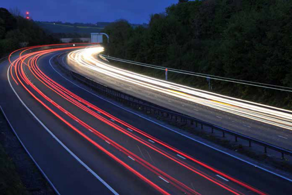 Lights on a motorway at night (credit: krzych/iStock - ID92085353).