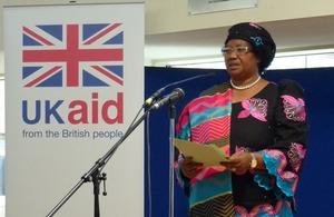 President Joyce Banda speaking today at DFID. Picture: Jane Garvan/DFID