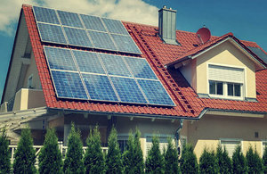 Modern home equipped with solar panels