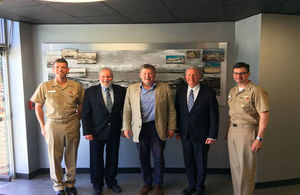 General Sir Chris Deverell, Commander JFC (centre) at United States Space and Naval Warfare Systems Command (SPAWAR).