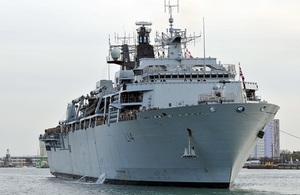 HMS Albion pictured docked in Portsmouth. She will work with partners and allies in the Asia-Pacific region over the coming months.