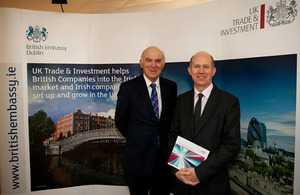 Secretary of State, Vince Cable with British Ambassador to Ireland, Dominick Chilcott