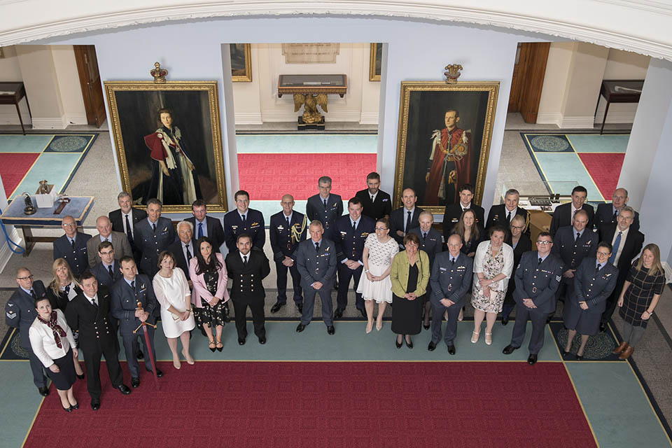Peter Mole with Staff, Students & Families at the Graduation of No. 48 Aerosystems Course, College Hall, RAF Cranwell