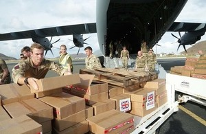 UK aid being delivered in the Caribbean after Hurricane Irma in 2017