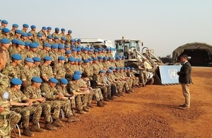 The Minister for Armed Forces, Mark Lancaster, addresses members of the UK Task Force who are building accommodation and helicopter landing sites for the UN Mission in South Sudan (UNMISS).