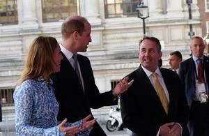 The Duke of Cambridge with Dr. Liam Fox and DIT Permanent Secretary Antonia Romeo