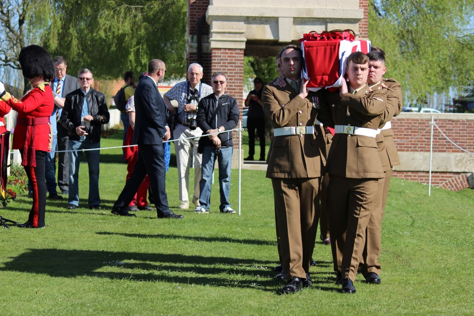 The Royal Regiment Fusiliers take Captain Walker to his final resting place, Crown Copyright, All rights reserved