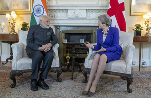 Prime Minister Theresa May and Prime Minister Narendra Modi of India inside 10 Downing Street.