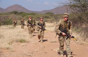 Soldiers on patrol in the Kenyan savannah during Exercise Askari Thunder [Picture: Crown copyright]