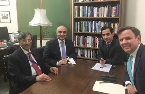 Picture of Greg Hands and Muhammad Pervaiz Malik during their meeting in London.