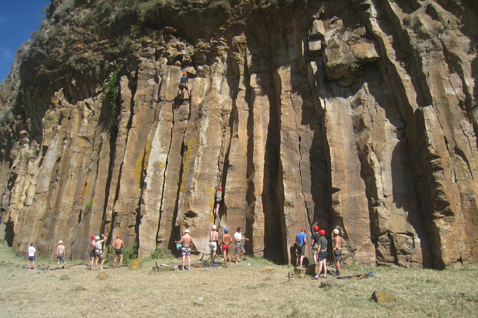 Soldiers taking part in rock climbing activities