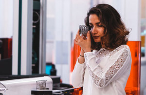 Hanifeh Zarezadeh, 3D Development Engineer at Photocentric, examines the quality of jewellery 3D prints.