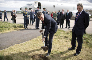 'Defence Secretary Gavin Williamson cut the first turf on a £132m facility for the UK's new fleet of submarine hunting Poseidon Maritime Patrol Aircraft (MPA) at RAF Lossiemouth today. Crown copyright.'