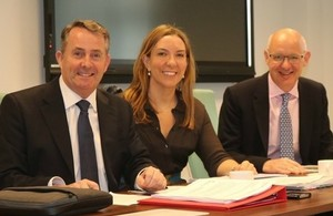 Picture of Dr Liam Fox, Antonia Romeo, and John Mahon.