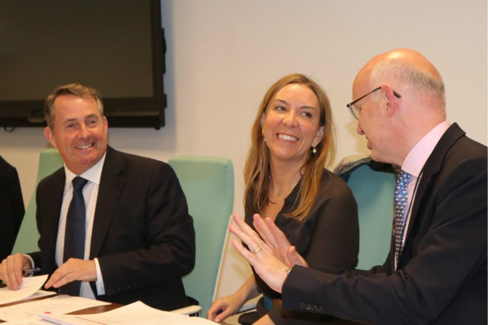 Left to Right: Dr Liam Fox, Antonia Romeo, and John Mahon.