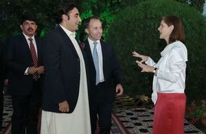 Special Envoy for Gender Equality Joanna Roper, British High Commissioner Thomas Drew with the Chairman of PPP Bilawal Bhutto Zardari