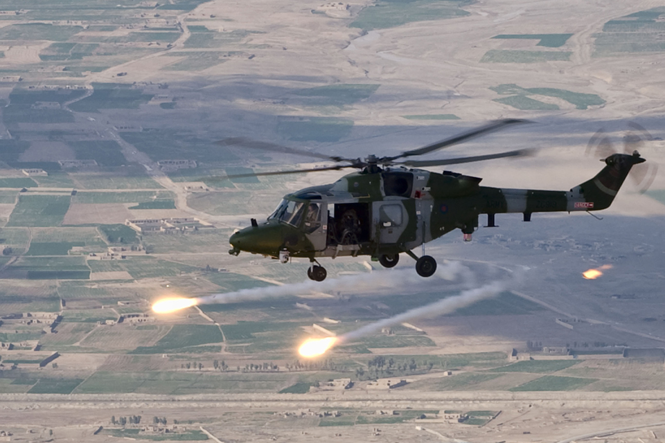 A Lynx helicopter releasing flares