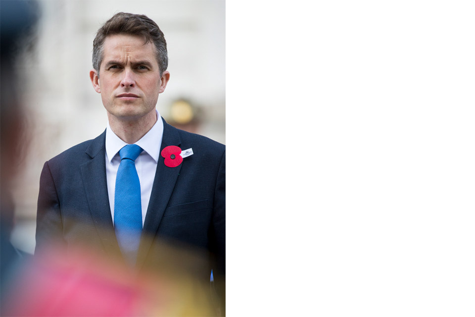 Defence Secretary Gavin Williamson at Anzac Day memorial