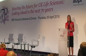 Picture of Baroness Fairhead speaking at ABPI conference.