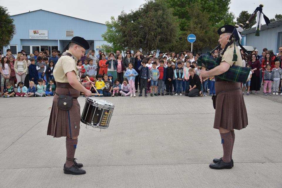 Bagpipers perform at the International School