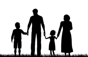 Drawing of a family group in silhouette